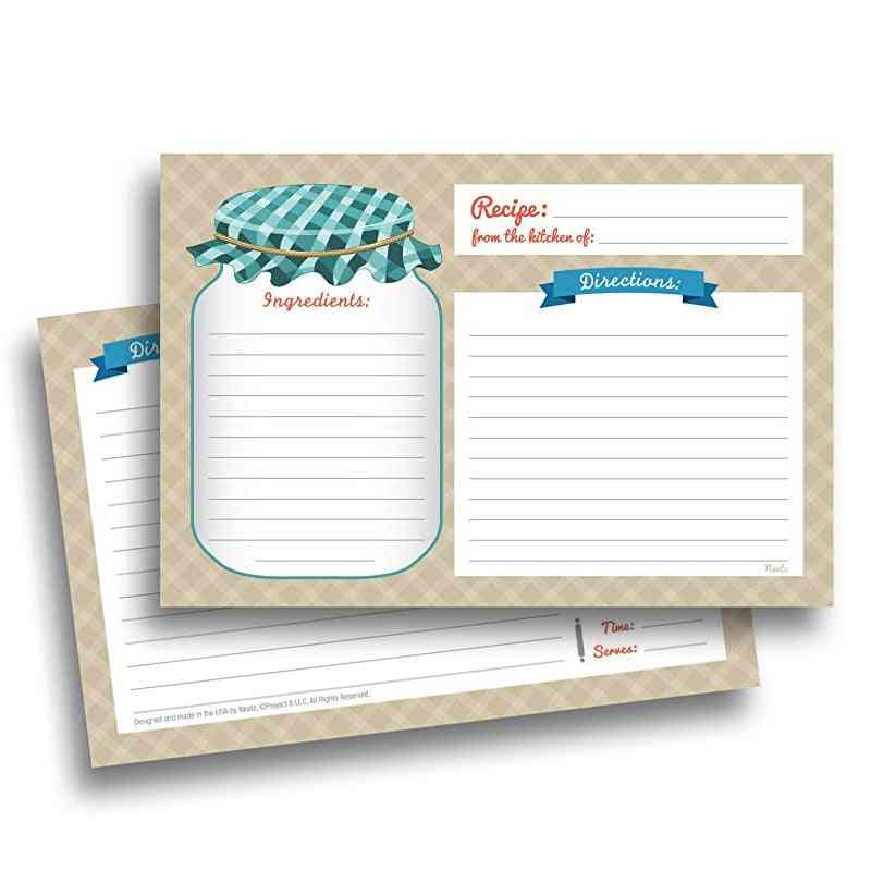 Kitchen Recipe Cards-double Sided Printed Paper