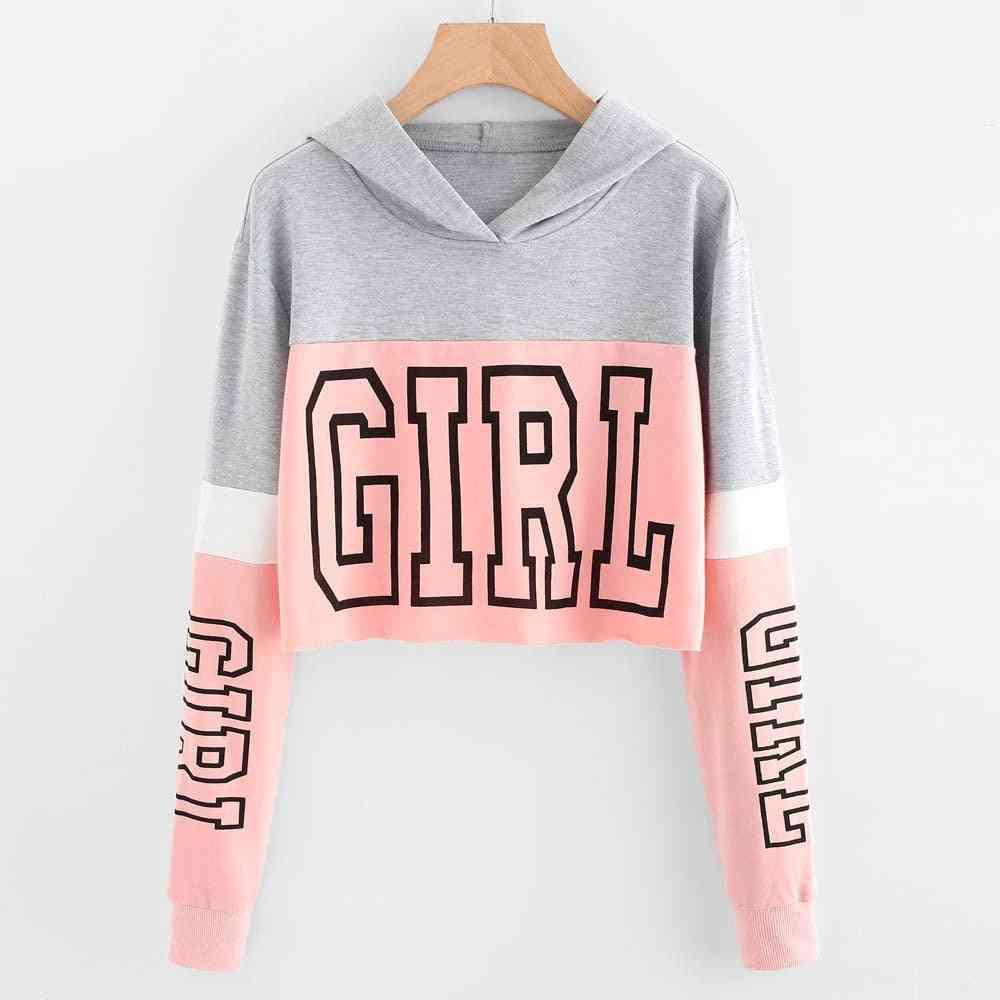 Print Color Block, Cropped Hoody Sweatshirt Blouse