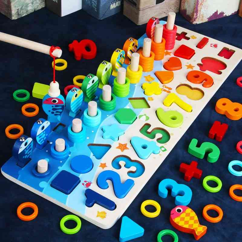 Montessori Wooden Educational - Busy Board Math, Fishing Counting Geometry