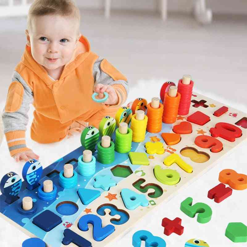 Baby Montessori Math, Educational 5 In 1 Fishing Count Numbers Matching