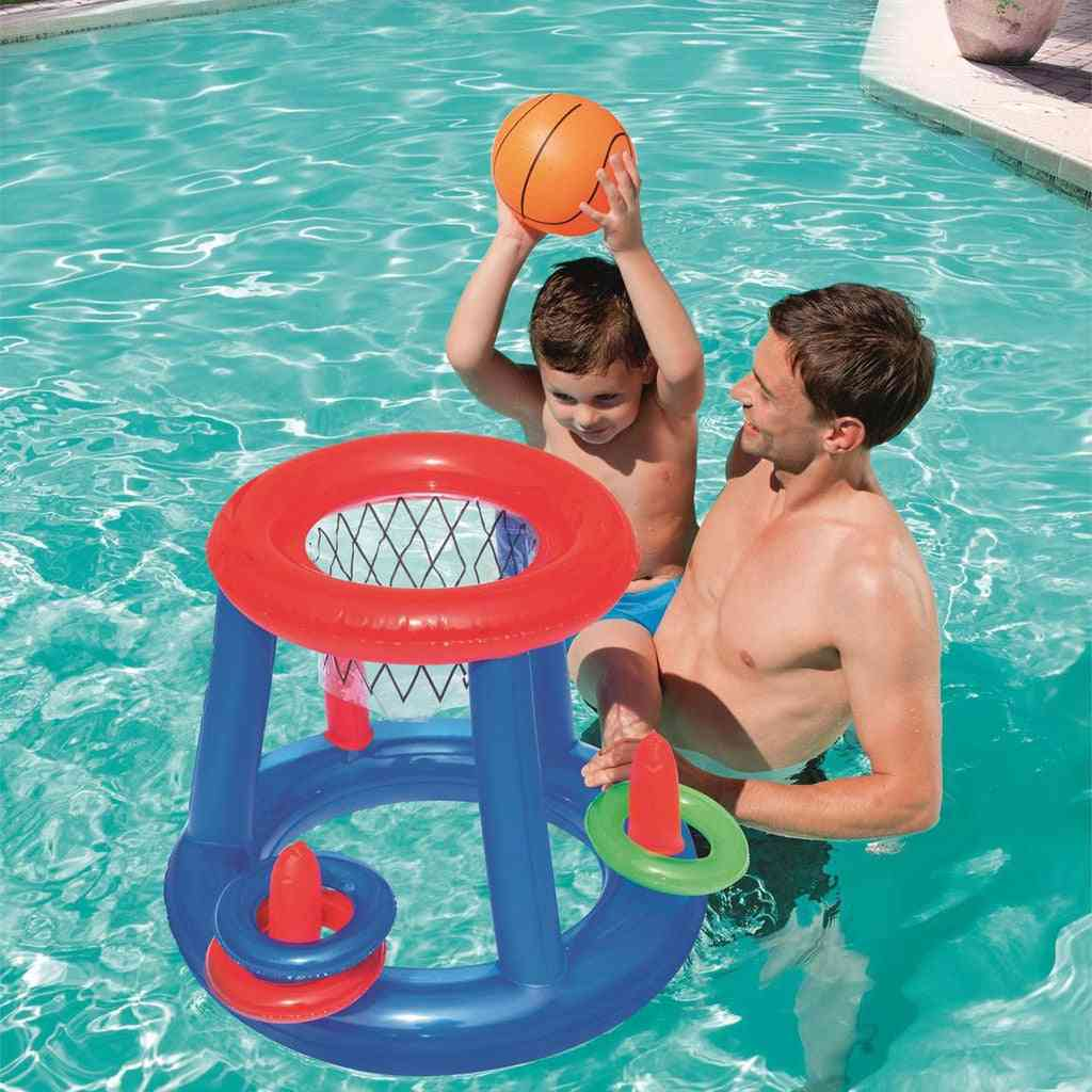 Giant Inflatable Floating Basketball Hoop & Blow Up Ball For Swimming Pool & Water Sports