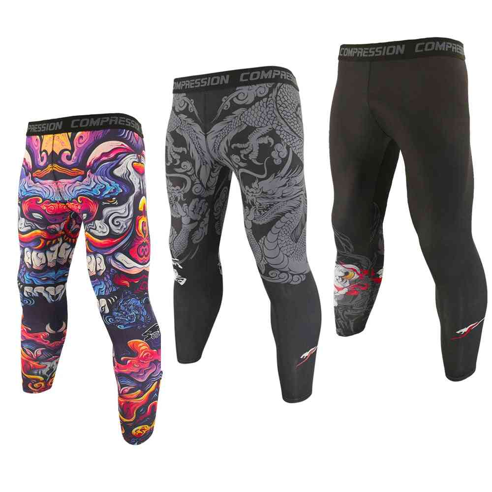 Men Breathable Elastic Running Jogging Leggings, Compression Fitness Workout Sports Tight Pants