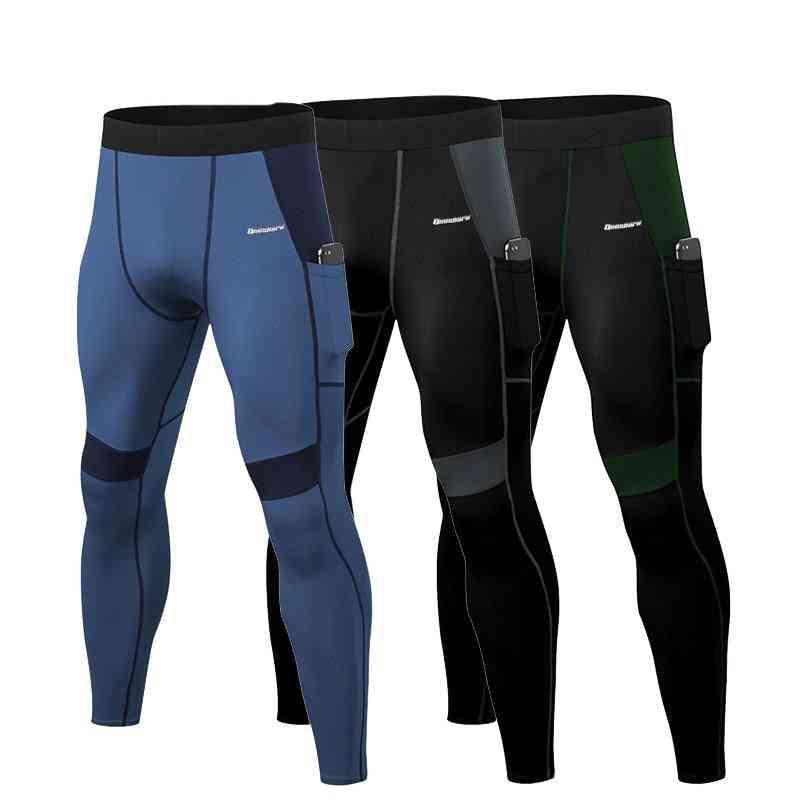 Patchwork Compression Running Tights, Men Phone Pocket Elastic Sports Leggings