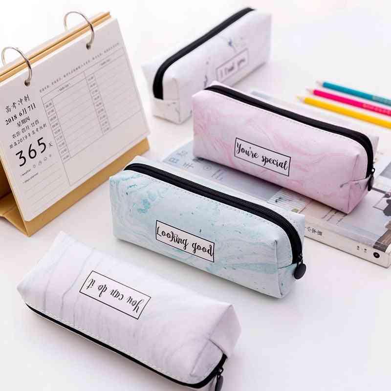 Marble Pattern Leather Pen Bag/ Pencil Case