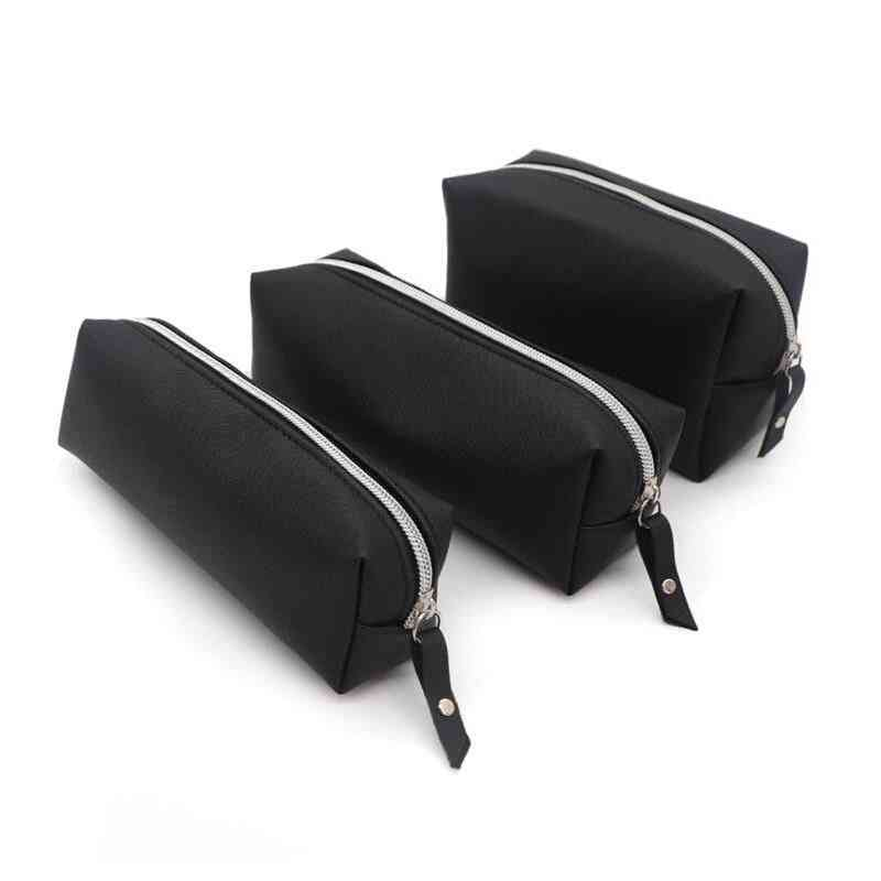 Black Pencil Case, Pu Leather, Big Capacity Bag For School Stationery