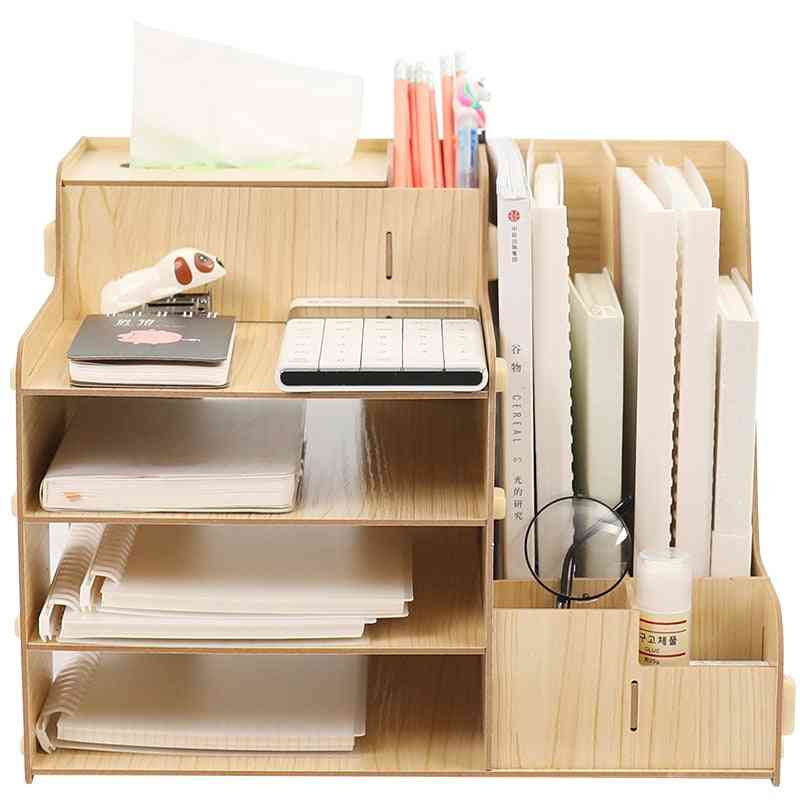 File Sorter 4-tier Wooden File-document Organizer, A4 Rack With Pen-holder