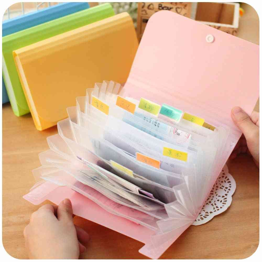 Plastic A6-file Folder, Small Document Bags Expanding Wallet Bill Folders