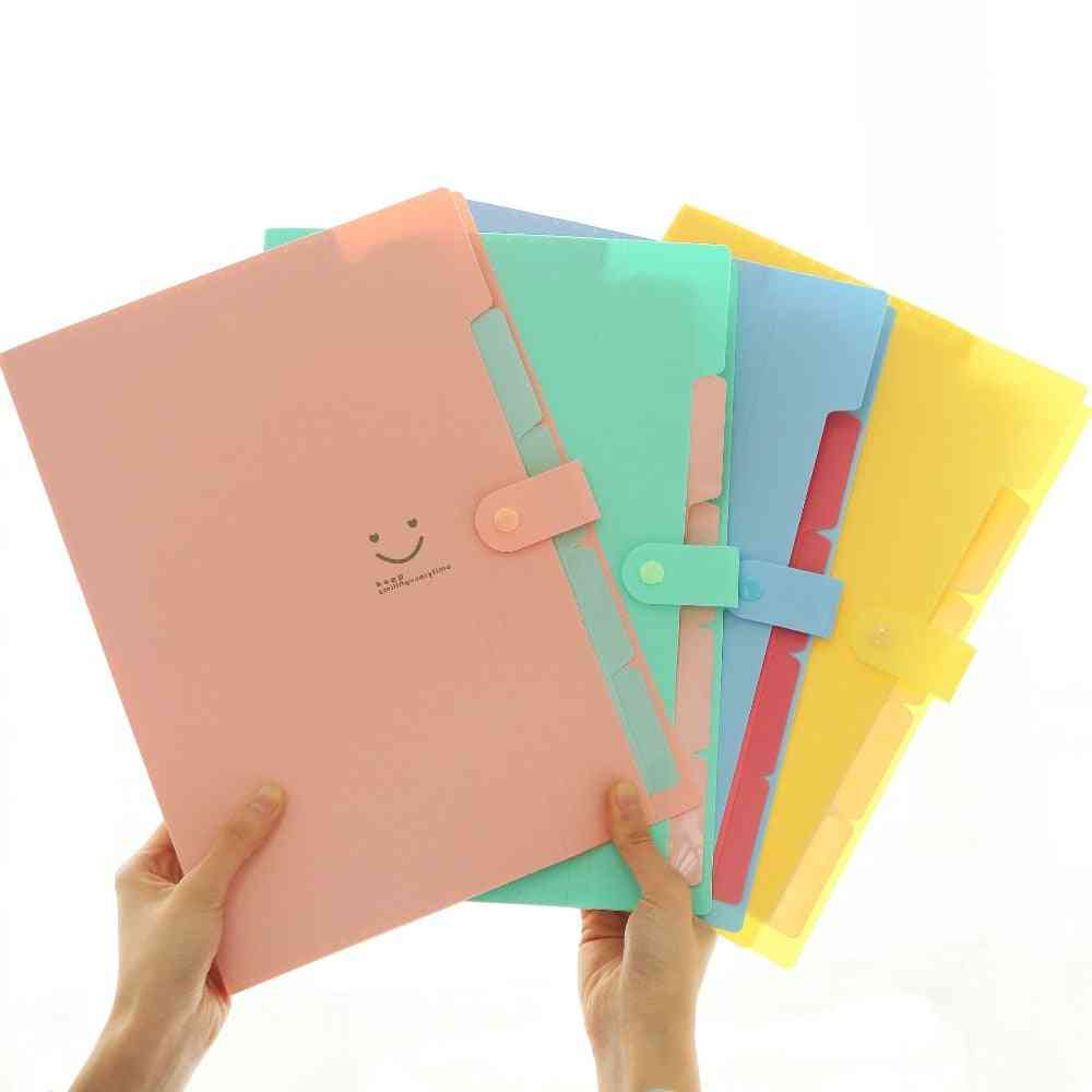 A4 File Folder Waterproof Document Holder, Smile Business Bag 5-layers Pockets