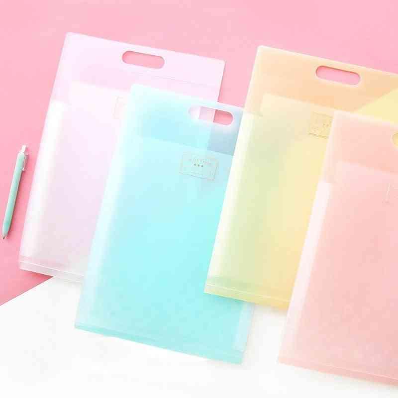 A4 6p-folder Storage Bag, Candy Plastic File Pocket