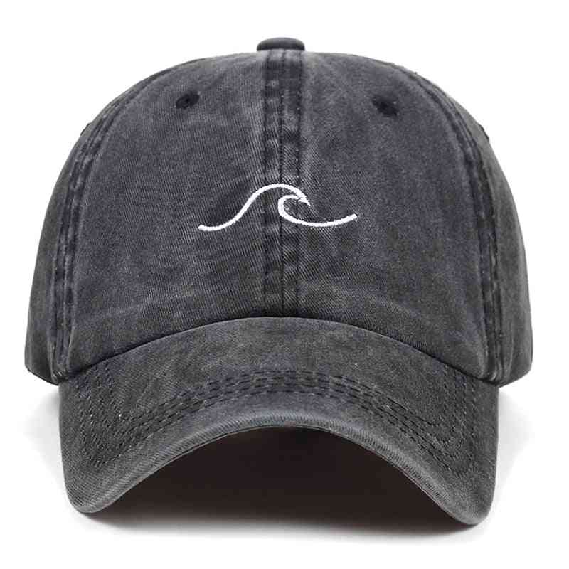 Women Cotton Embroidery Wavy Line Baseball Cap, Men Hip Hop Snapback Sea Sports Caps