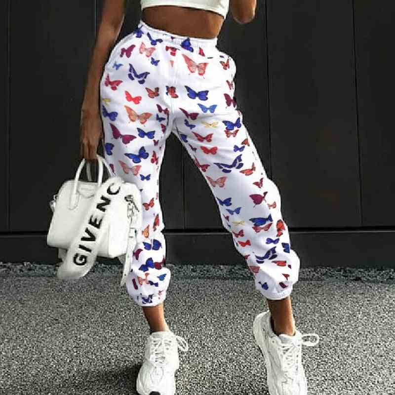 Fashion Sports Jogger Print Loose Casual Pants Women, High Waist Pocket Hip Hop Pencil Pant
