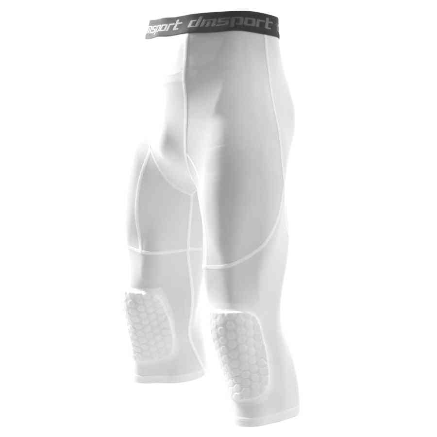 Men's Basketball Padded Three-quarter Tights Pants, With Knee Pads For Men