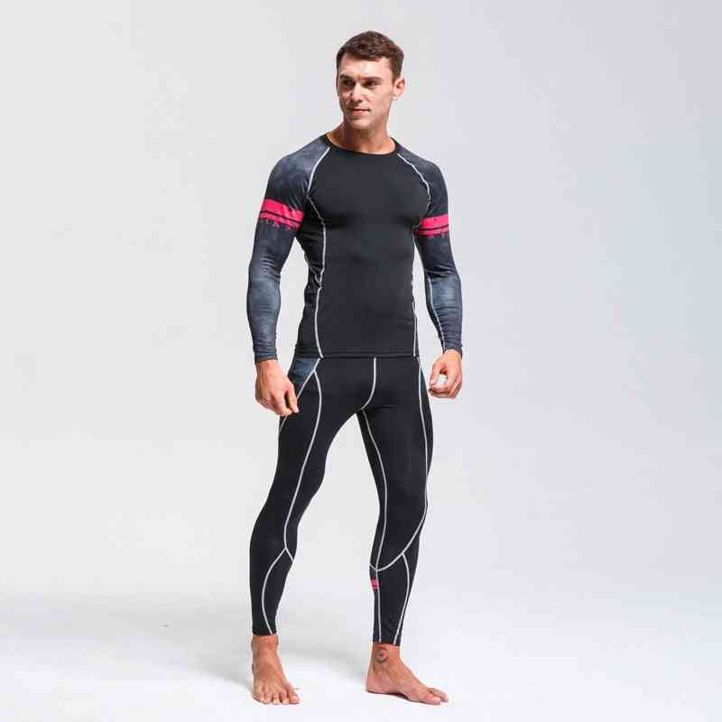 Quick Drying Perspiration Running Set  Men's Compression Sportswear Fitness Thermal Underwear Sport Suit