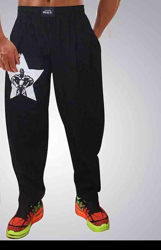 Men Bodybuilding Baggy Pants, High Elastic Cotton Gym Clothing Fitness Pants