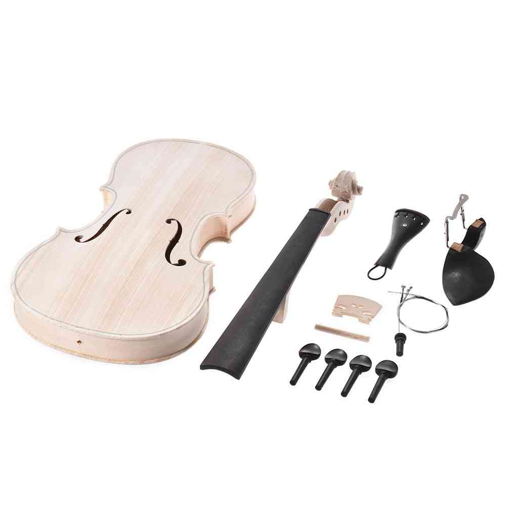 4/4 Full Size Natural Solid Wood, Acoustic Fiddle Violin Kit