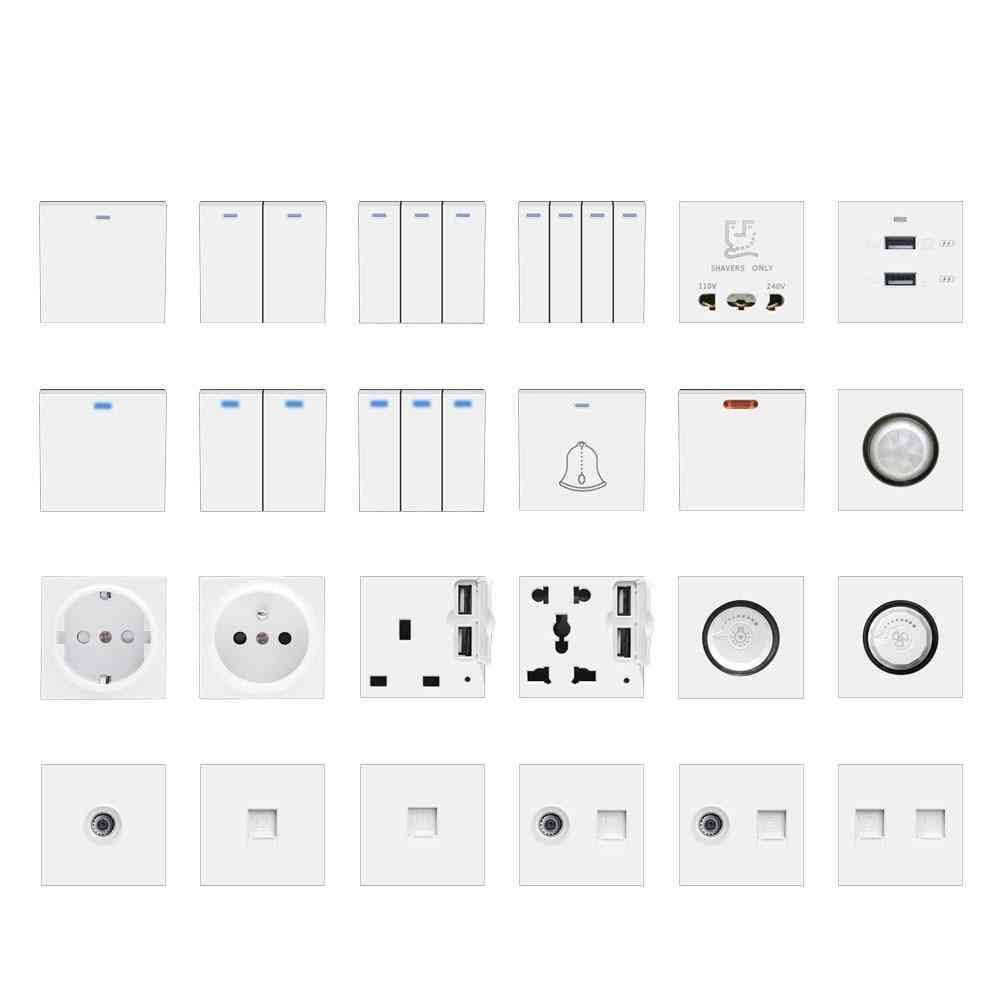 Wall Light Switch Power Socket Plastic Electrical Outlet Function Key Only