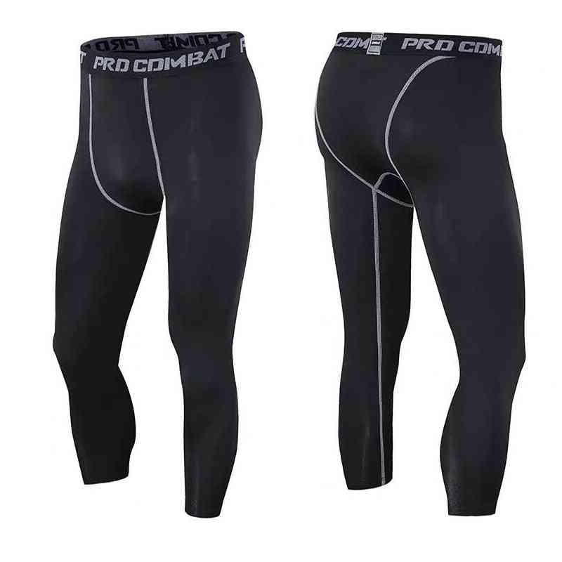 Men's Compression 3/4 Pants, Running Workout Tights Youth Sports Baselayer Football Leggings