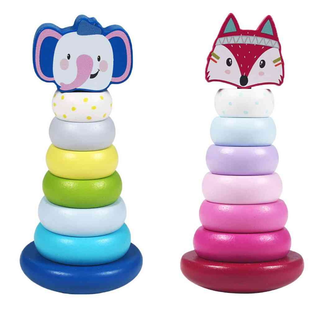 Wooden Stacking Rings Toy With Elephant/fox Topper-developmental Blocks