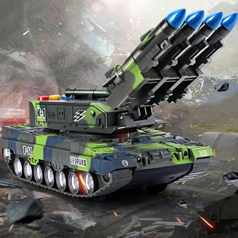 Children's Toy Tank, Simulation Model Tiger Military Armored Missile Sounding Glowing