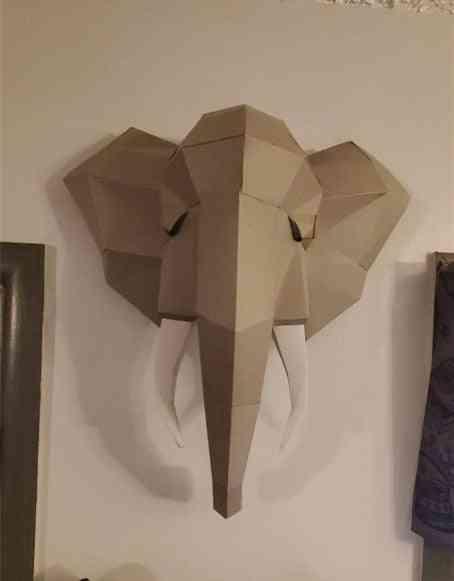 3d Paper Model, Hand Made Elephant Wall Papercraft