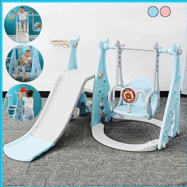 3 In 1 Slide And Swing With Basketball Hoop Set- Kids Playground