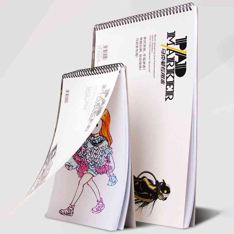 Professional Spiral Sketch Notepad Book, Painting Drawing Marker Paper Pad