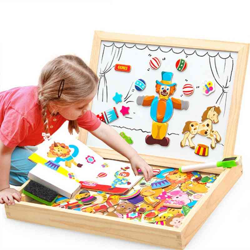 Wooden Magnetic Art Easel - Puzzle Figure/animals/ Vehicle /circus Drawing Board Educational Toy
