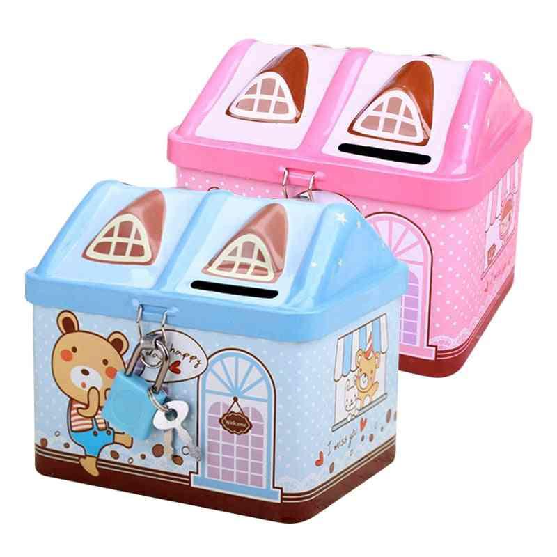 Piggy Bank Coin Money Box, Cute Bear House Model