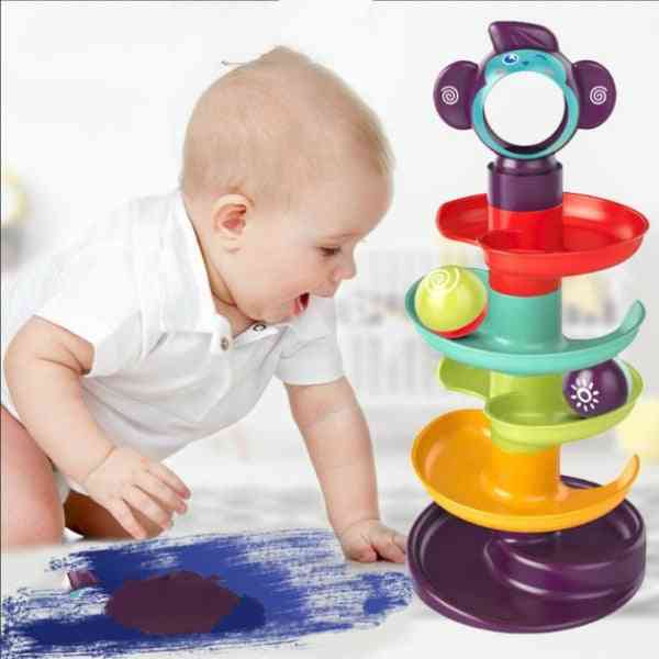 5-layer Building Block Track Turn Music Roll Ball- Baby Gliding Tower Road Assembly Toy