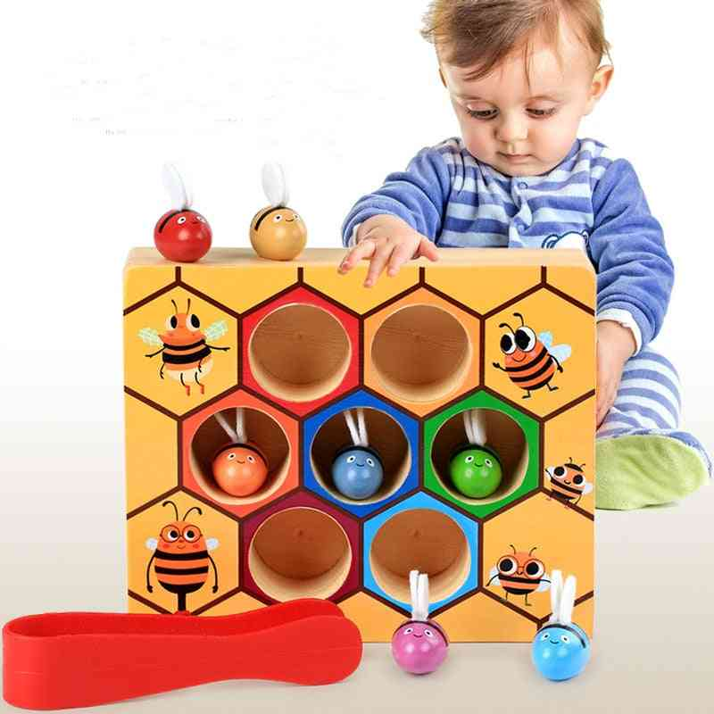 Montessori Educational Aid- Little Bees Wooden Board Game For