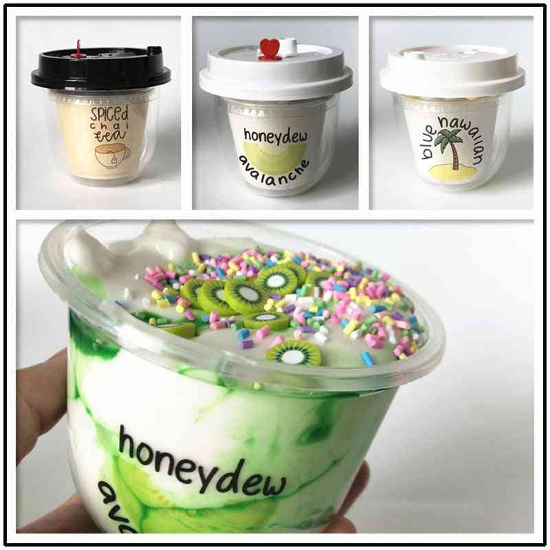 150ml Fluffy Slime Ice Cream- Polymer Clay, Super Light Soft Cotton Charms Kit