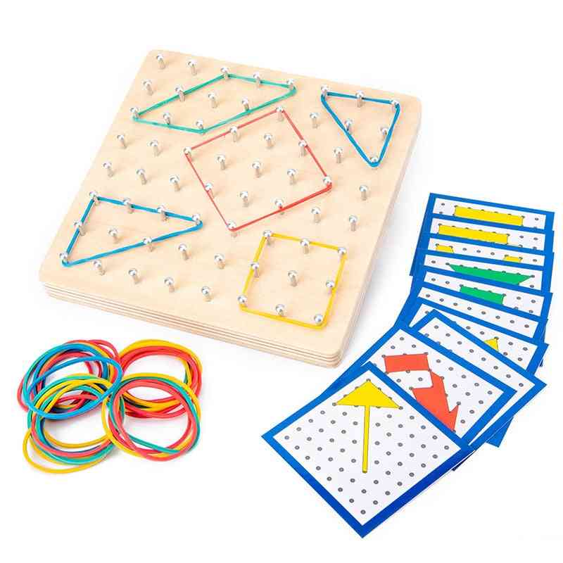 Wooden Geo Board-mathematical Manipulative Array Block With Pattern Cards