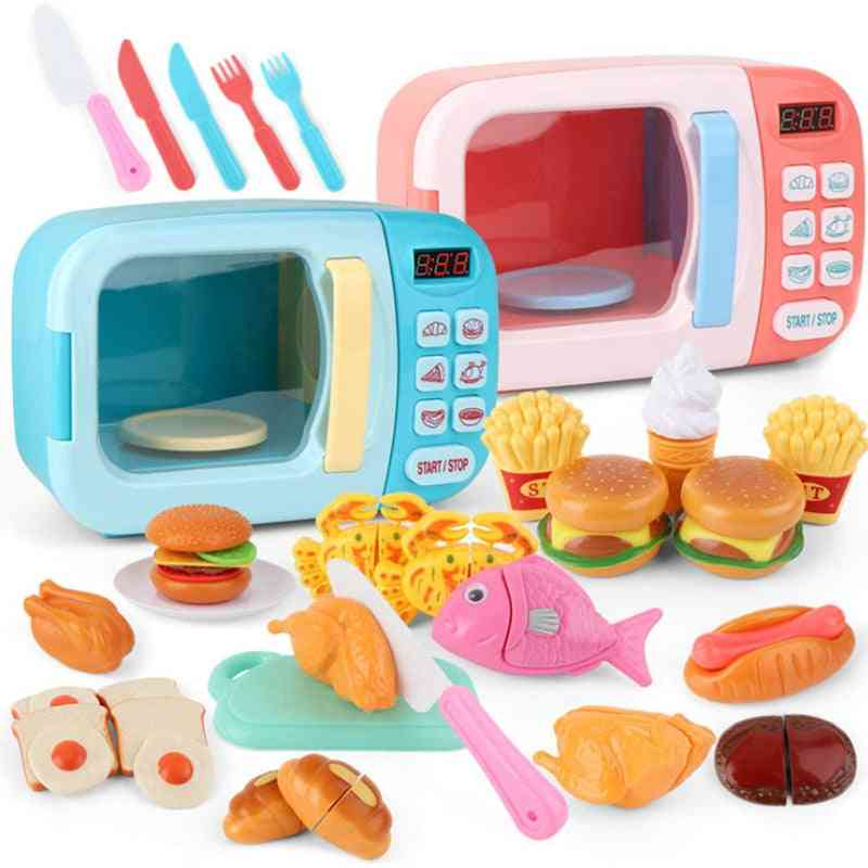 Kitchen Microwave Oven, Educational, Mini Kitchen Food Cutting, Role Playing/