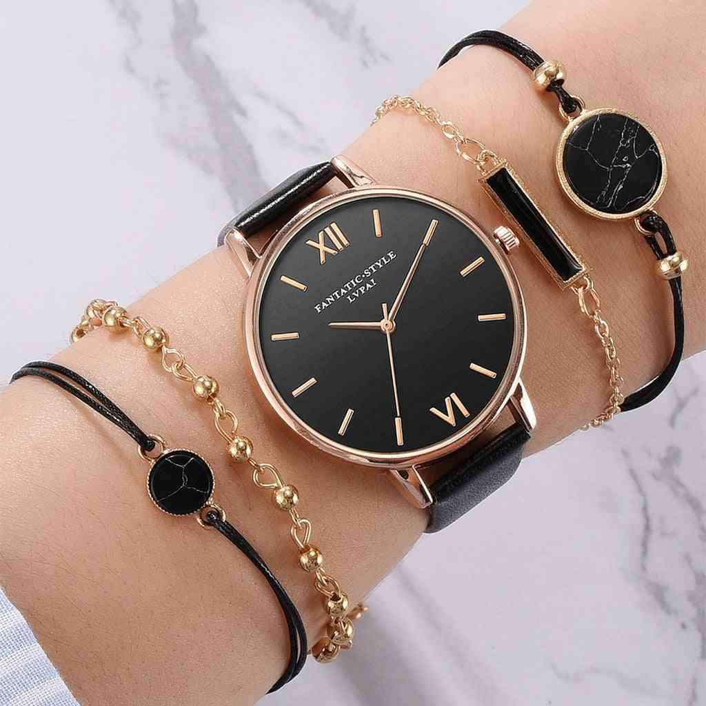 Wrist Watch Bracelet Set For Woman