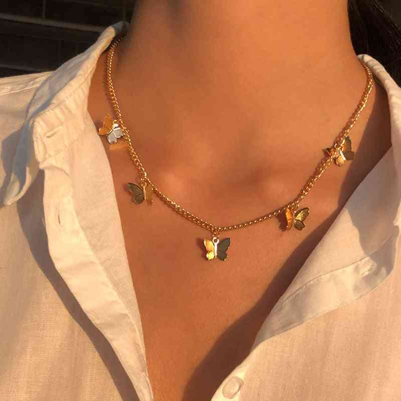 Mood Tracker Chain And Butterfly Pendant Necklace