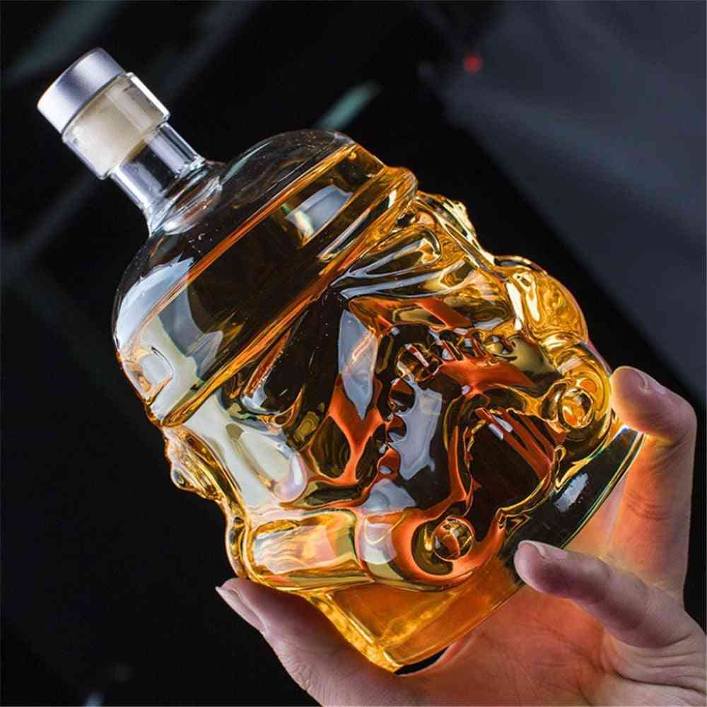 Wine Glass And Bottle Set-3d Detailed Skull Design, Double-layer