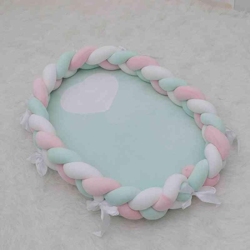 Baby Bed Crib, Elliptical Braid Knot Cotton Beds Bassinet Infant Cot Nest