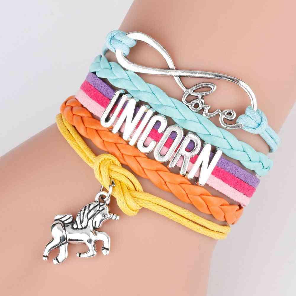 Unicornes Rainbow- Alphabet Bracelet Pendant
