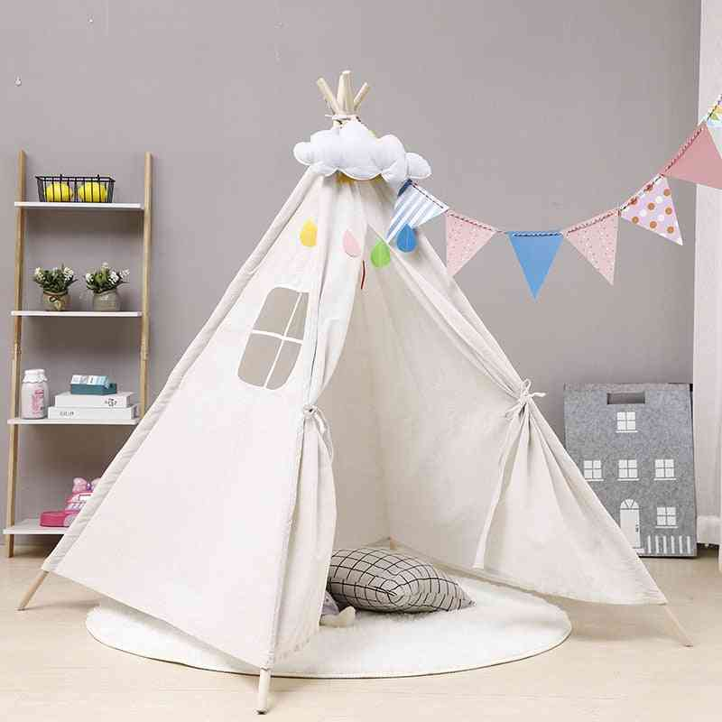 Large Teepee, Cotton Canvas Tent-play House For Kids