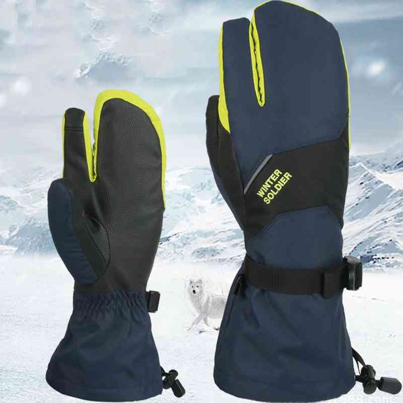 Ski Gloves- Winter Waterproof Warm Thick Touch Screen Three-finger Gloves / Women Cycling Outdoor Climbing