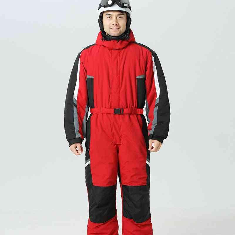 Hoodie Men Snow Jumpsuit- Sport Winter Man Skiing Overalls Fleece Women Snowboarding Clothes, Warm Waterproof Male Snowsuits