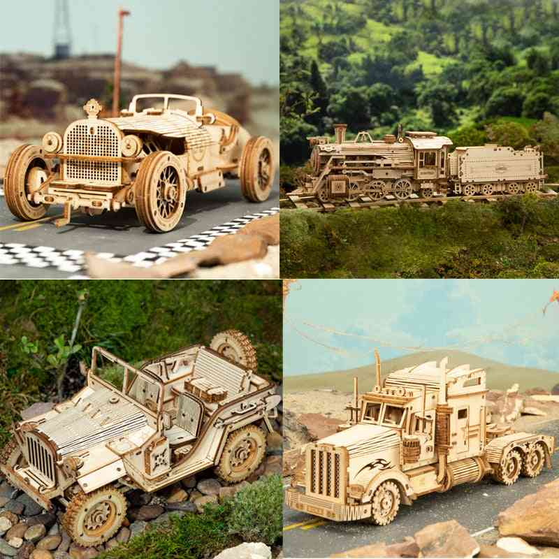 3d Wooden Train Model Puzzle Toy, Assembly Locomotive Building Kits