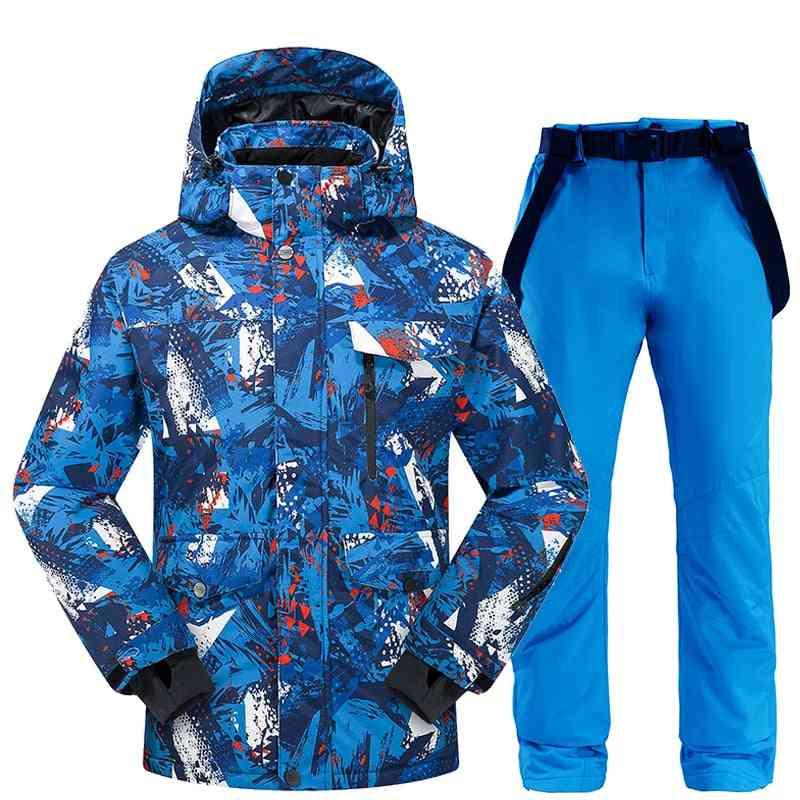 Ski Suit Men- Winter Thermal Waterproof Windproof Clothes Snow Pants / Ski Jacket Men Set- Skiing And Snowboarding Suits Brands