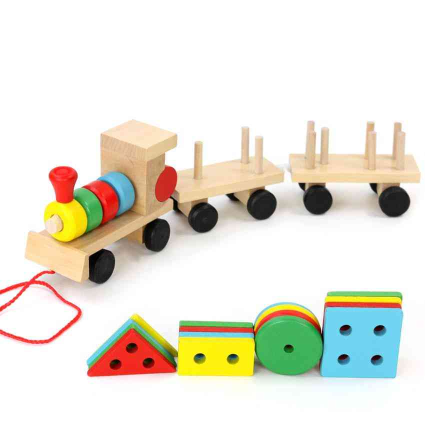 Small Wooden Train And Dragging Three Carriage Geometric Shape Matching, Early Childhood Educational Diecasts