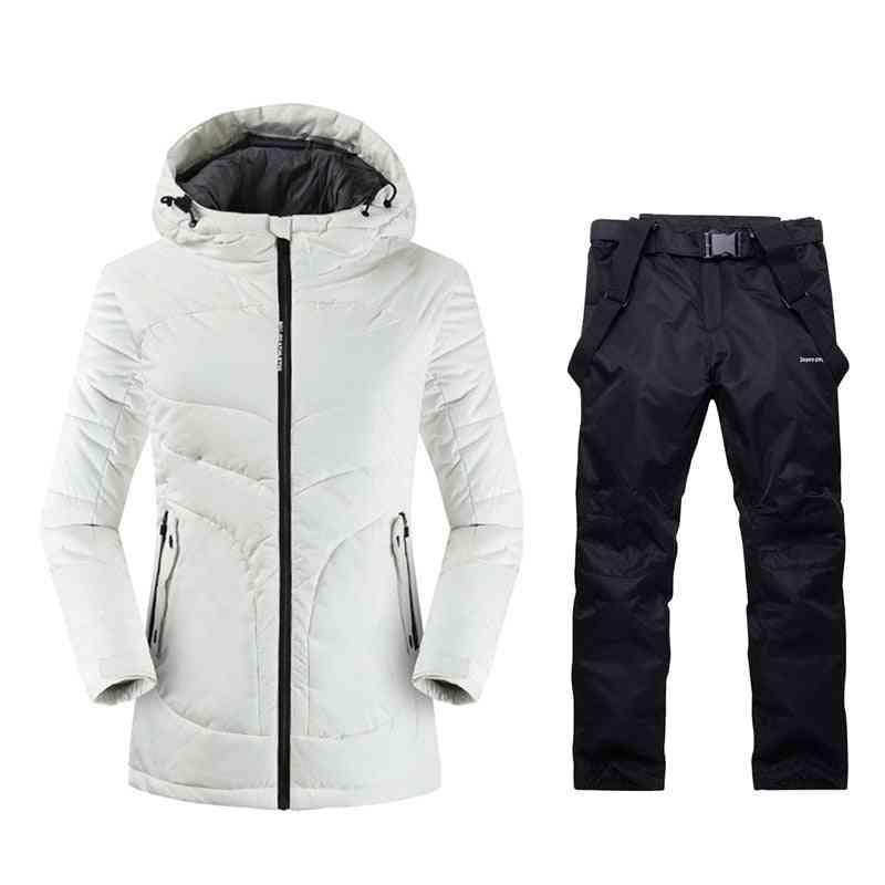 Womens Mountain Skiing Outdoor Winter Warm Sport Suits, Ladies Snow Clothing Ski Jacket- Women Skiing Pants Long Ski Suit