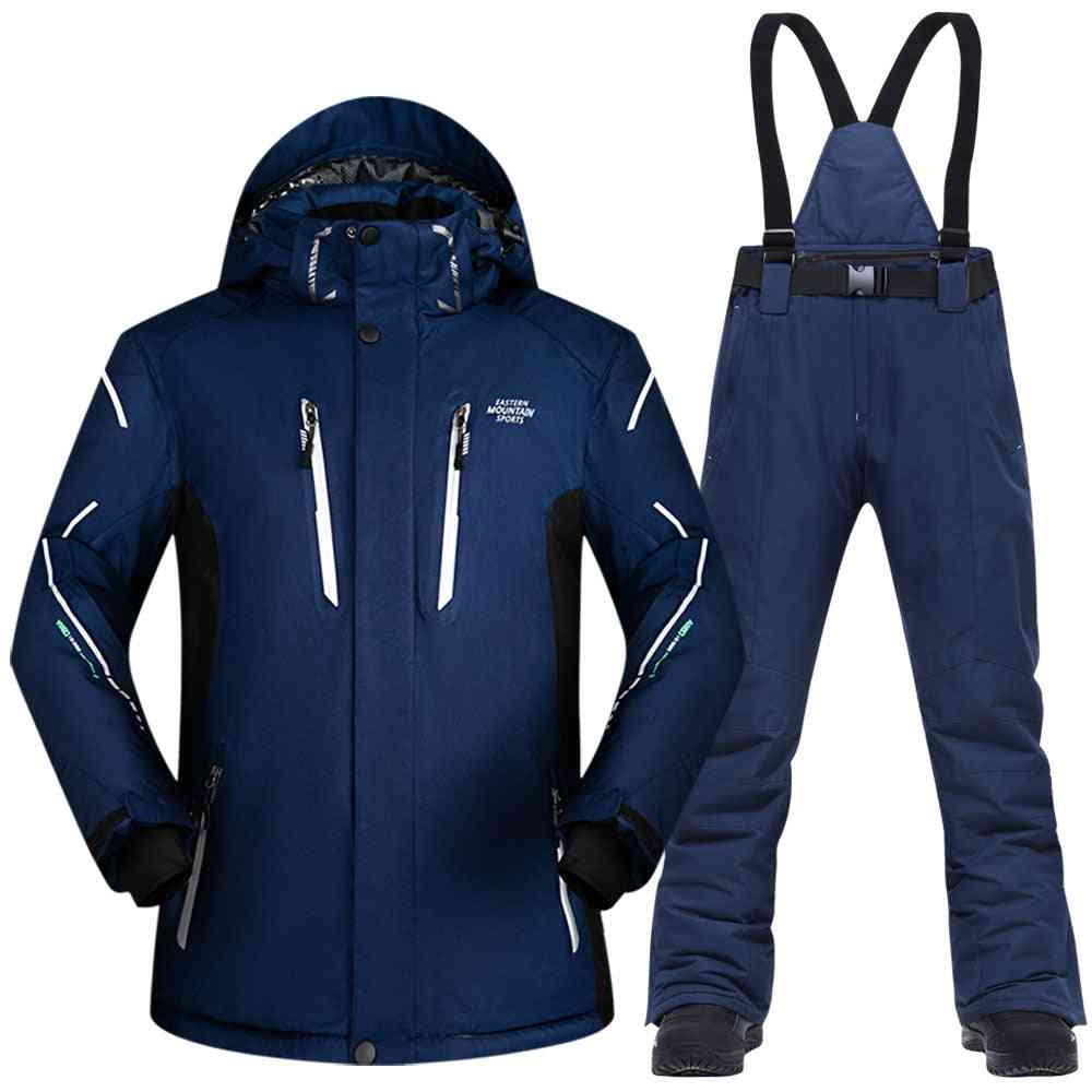 Ski Suit Men, Winter Waterproof Windproof Thicken Warm Snow Clothes Men Ski Sets- Jacket Skiing And Snowboarding Suits