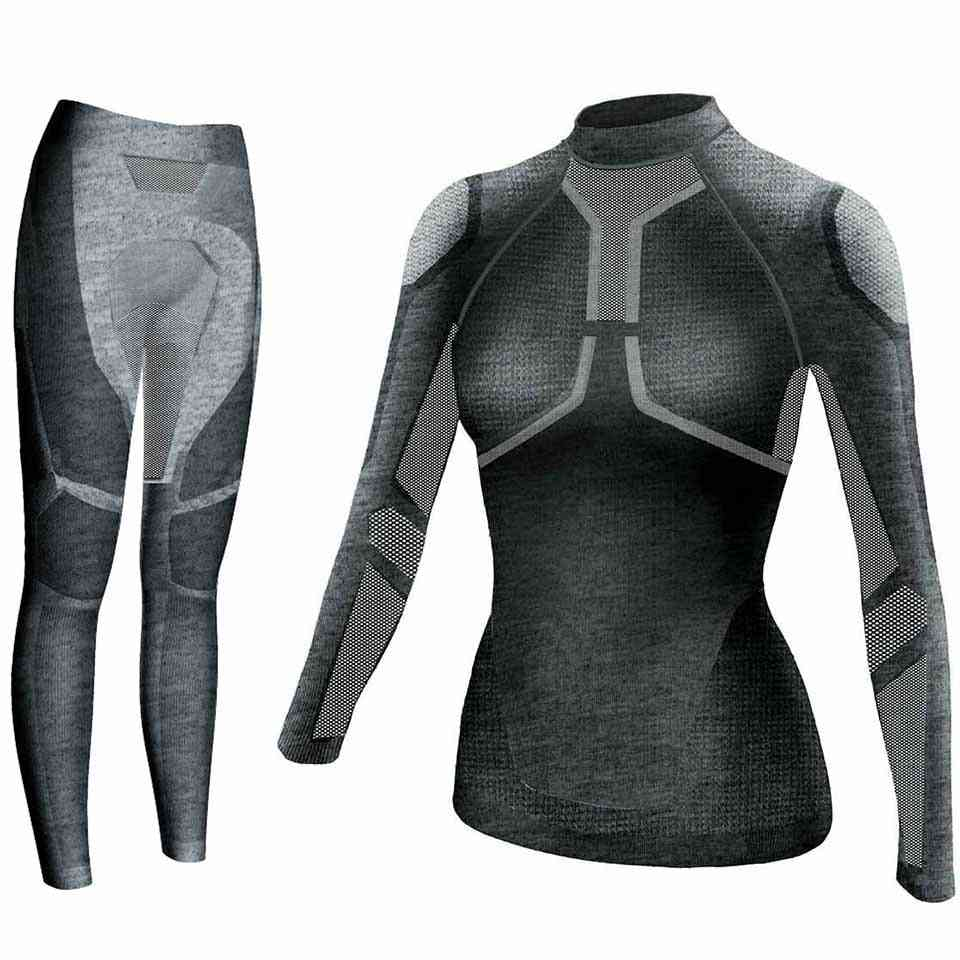 Yooy Women Ski Thermal Underwear Set- Ladies Quick Dry Funktion Compression Tracksuit Fitness Tight Shirts / Sports Suits