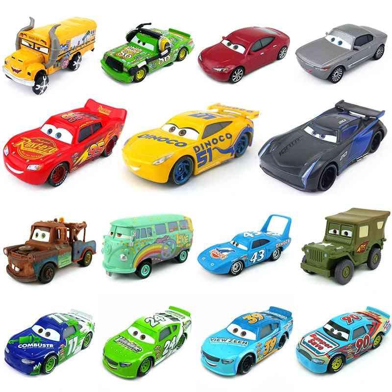 3 Lightning Mcqueen Jackson Storm Cruz Ramirez Miss Fritter 1:55 Diecast Metal Toy Car