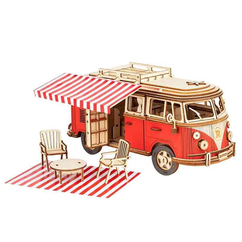 Rokr Camper Van Block Wooden Puzzle Car Model