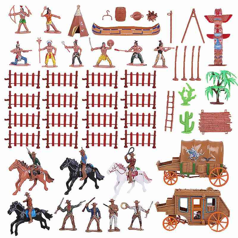 Indian Figurines Decorations Western Cowboy Carriage Simulation Adornment Character Model